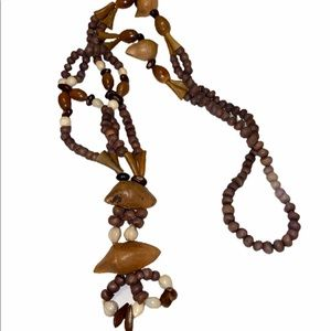 COPY - Vintage Costume Beaded Brown Necklace